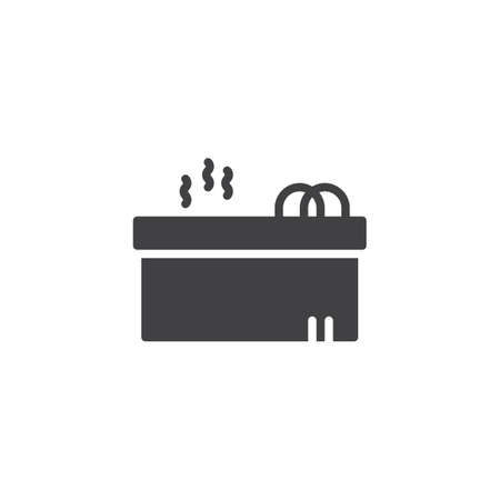 Hot jacuzzi tub vector icon. filled flat sign for mobile concept and web design. Jacuzzi spa simple solid icon. Symbol, logo illustration. Pixel perfect vector graphics