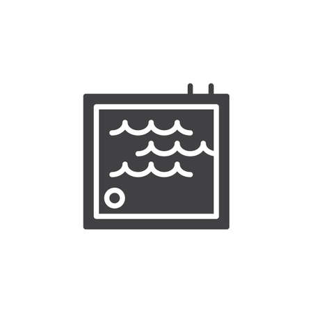 Swimming pool with ladder vector icon. filled flat sign for mobile concept and web design. Water park area simple solid icon. Symbol, logo illustration. Pixel perfect vector graphics Ilustracja