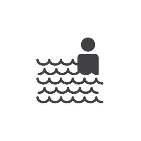 Man in swimming pool vector icon. filled flat sign for mobile concept and web design. Swimming man simple solid icon. Symbol, logo illustration. Pixel perfect vector graphics