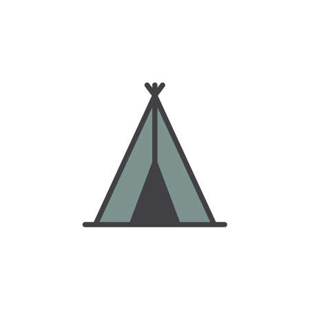 Indian tepee filled outline icon, line vector sign, linear colorful pictogram isolated on white. Wigwam Symbol, logo illustration. Pixel perfect vector graphics Illustration