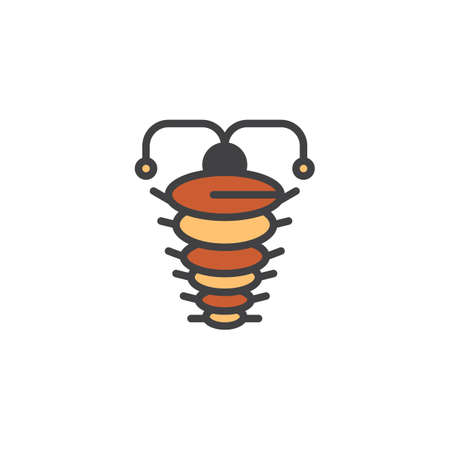 Arthropod filled outline icon, line vector sign, linear colorful pictogram isolated on white. Ancient trilobite symbol, logo illustration. Pixel perfect vector graphics Illustration
