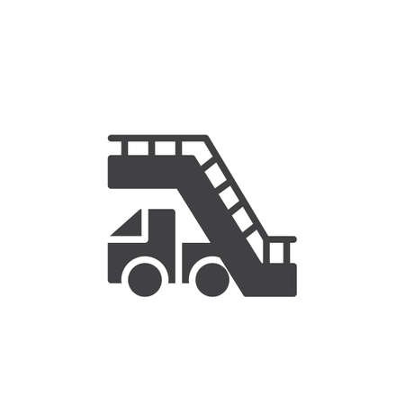 Aircraft stairs vector icon. filled flat sign for mobile concept and web design. Airport stairs car simple solid icon. Symbol, logo illustration. Pixel perfect vector graphics