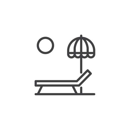 Sun lounger and Beach umbrella outline icon. linear style sign for mobile concept and web design. Parasol, summer umbrella and sunbed simple line vector icon. Symbol, logo illustration. Pixel perfect