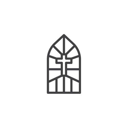 Church stain glass window outline icon. linear style sign for mobile concept and web design. Stained glass with cross simple line vector icon. Symbol, logo illustration. Pixel perfect vector graphics 版權商用圖片 - 103264429