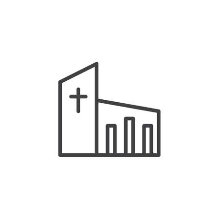 Church building outline icon. linear style sign for mobile concept and web design. Religion simple line vector icon. Symbol, logo illustration. Pixel perfect vector graphics 向量圖像