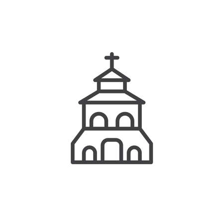 Church building outline icon. linear style sign for mobile concept and web design. Christian church simple line vector icon. Symbol, logo illustration. Pixel perfect vector graphics Stock Illustratie