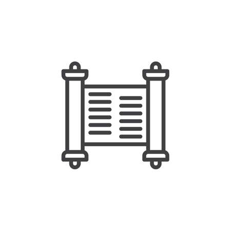 Holy scriptures scroll outline icon. linear style sign for mobile concept and web design. Religion simple line vector icon. Symbol, logo illustration. Pixel perfect vector graphics