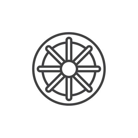 Wheel of Dharma outline icon. linear style sign for mobile concept and web design. Buddhism and Hinduism simple line vector icon. Dharmachakra symbol, logo illustration. Pixel perfect vector graphics