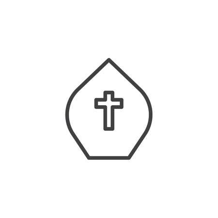 Pope hat outline icon. linear style sign for mobile concept and web design. Miter with cross simple line vector icon. Symbol, logo illustration. Pixel perfect vector graphics
