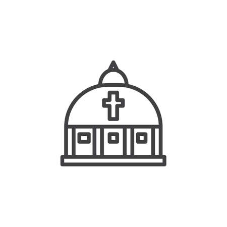 Vatican church outline icon. linear style sign for mobile concept and web design. Saint Peters Basilica simple line vector icon. Symbol, logo illustration. Pixel perfect vector graphics