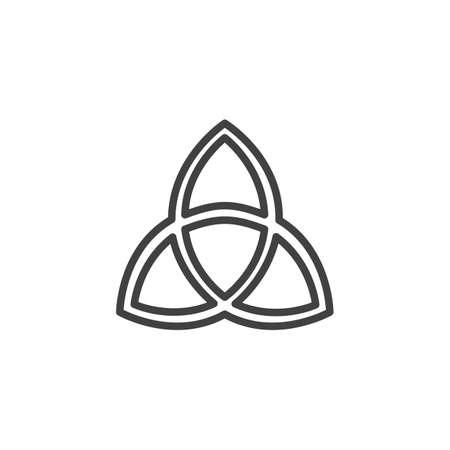 Icona di contorno della Santissima Trinità. segno di stile lineare per il concetto di mobile e web design. Icona di vettore di linea semplice comunità cristiana. Simbolo, illustrazione logo. Pixel grafica vettoriale perfetta