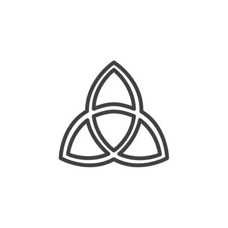 Overzicht pictogram van de heilige drie-eenheid. lineaire stijl teken voor mobiel concept en webdesign. Christelijke gemeenschap eenvoudige lijn vector pictogram. Symbool, logo illustratie. Pixel perfecte vectorafbeeldingen