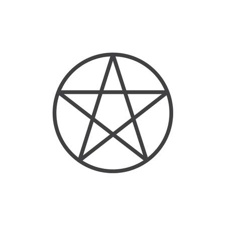 Pentagram or pentalpha outline icon. linear style sign for mobile concept and web design. Paganism simple line vector icon. Symbol, logo illustration. Pixel perfect vector graphics