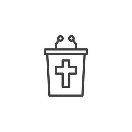 Christian tribune outline icon. linear style sign for mobile concept and web design. religion simple line vector icon. Symbol, logo illustration. Pixel perfect vector graphics