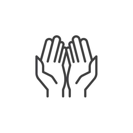 Icona di contorno di mani di preghiera. segno di stile lineare per il concetto di mobile e web design. Icona di vettore di linea semplice mano di preghiera. Simbolo, illustrazione logo. Pixel perfetta grafica vettoriale Logo