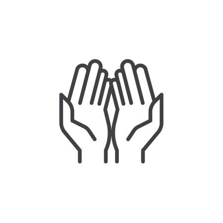 Prayer hands outline icon. linear style sign for mobile concept and web design. Praying hand simple line vector icon. Symbol, logo illustration. Pixel perfect vector graphics Иллюстрация