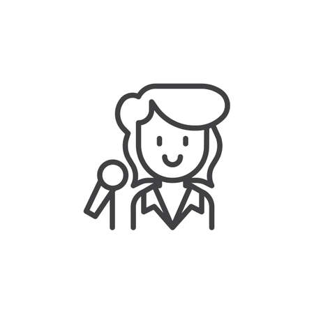 Singer female outline icon. linear style sign for mobile concept and web design. Woman with microphone simple line vector icon. Symbol, logo illustration. Pixel perfect vector graphics
