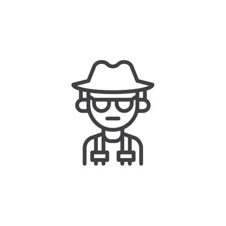 Spy person outline icon. linear style sign for mobile concept and web design. Mafia man simple line vector icon. Symbol, logo illustration. Pixel perfect vector graphics