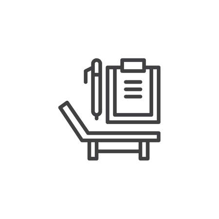 Deck chair, paper clipboard and pen line icon. linear style sign for mobile concept and web design. Psychology simple line vector icon. Symbol, logo illustration. Pixel perfect vector graphics