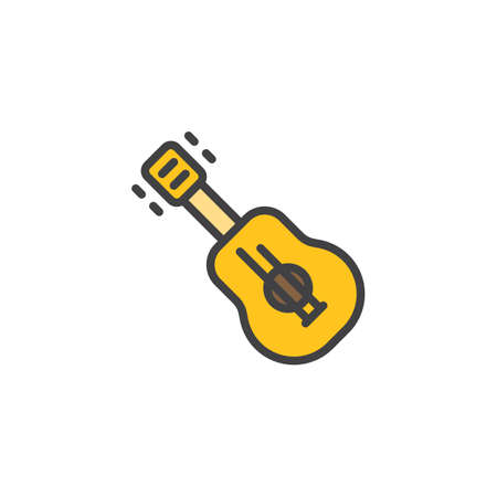 Acoustic Guitar filled outline icon, line vector sign, linear colorful pictogram isolated on white. Ukulele symbol, logo illustration. Pixel perfect vector graphics Illustration