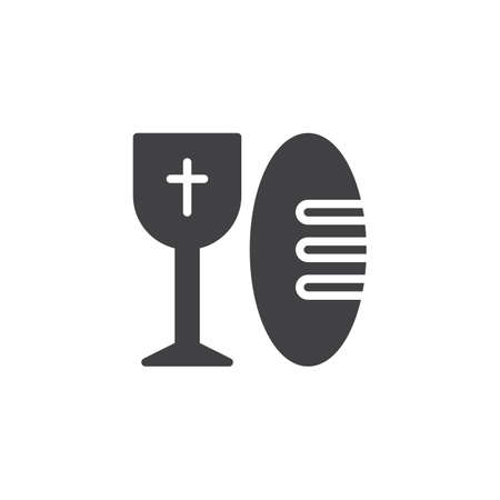 Bread and holy wine cup vector icon. filled flat sign for mobile concept and web design. Church goblet simple solid icon. Communion symbol, logo illustration. Pixel perfect vector graphics Ilustração