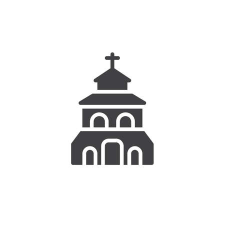 Church building vector icon. filled flat sign for mobile concept and web design. Christian church simple solid icon. Symbol, logo illustration. Pixel perfect vector graphics