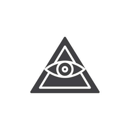 All seeing eye pyramid vector icon. filled flat sign for mobile concept and web design. Mason Pyramid eye simple solid icon. Freemason and spiritual symbol, logo illustration. Vector graphics Vettoriali