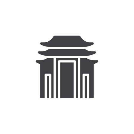 Pagoda building vector icon. filled flat sign for mobile concept and web design. Shinto building simple solid icon. Symbol, logo illustration. Pixel perfect vector graphics