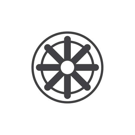 Wheel of Dharma vector icon. filled flat sign for mobile concept and web design. Buddhism and Hinduism simple solid icon. Dharmachakra symbol, logo illustration. Pixel perfect vector graphics