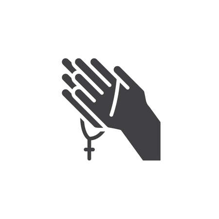 Praying hands with rosary vector icon. filled flat sign for mobile concept and web design. Religion simple solid icon. Symbol, logo illustration. Pixel perfect vector graphics