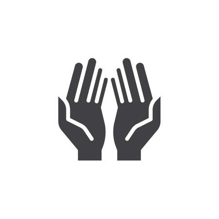 Prayer hands vector icon. filled flat sign for mobile concept and web design. Praying hand simple solid icon. Symbol, logo illustration. Pixel perfect vector graphics Vettoriali