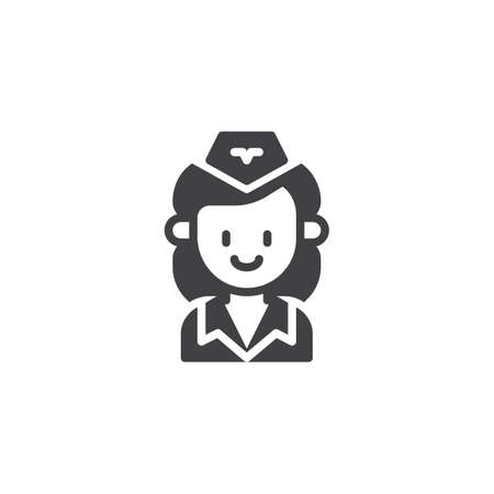 Stewardess vector icon. filled flat sign for mobile concept and web design. Air hostess woman simple solid icon. Symbol, logo illustration. Pixel perfect vector graphics