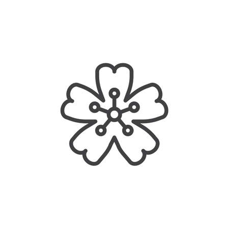 Cherry blossom outline icon. linear style sign for mobile concept and web design. Sakura Japanese cherry flower simple line vector icon. Symbol, logo illustration. Pixel perfect vector graphics