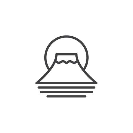 Fuji mountain outline icon. linear style sign for mobile concept and web design. Traditional Japanese Fujiyama mountain simple line vector icon. Symbol logo illustration. Pixel perfect vector graphics