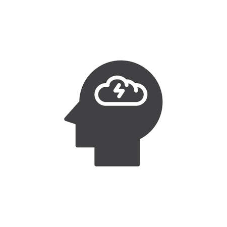 Brainstorming head vector icon. filled flat sign for mobile concept and web design. Depression head simple solid icon. Symbol, logo illustration. Pixel perfect vector graphics