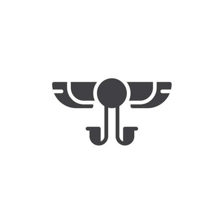 Winged Solar vector icon. filled flat sign for mobile concept and web design. Egyptian Hieroglyph simple solid icon. Symbol, logo illustration. Pixel perfect vector graphics Illusztráció