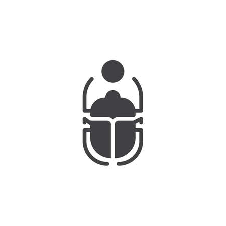 Scarab Beetle and sun vector icon. filled flat sign for mobile concept and web design. Egyptian Scarab simple solid icon. Symbol, logo illustration. Pixel perfect vector graphics Ilustração