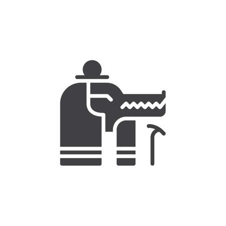 Sobek Egypt God vector icon. filled flat sign for mobile concept and web design. Anubis Egyptian God simple solid icon. Symbol, logo illustration. Pixel perfect vector graphics 向量圖像