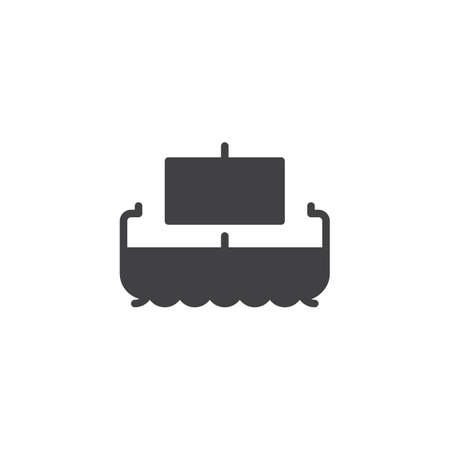 Egyptian papyrus boat vector icon. filled flat sign for mobile concept and web design.  Ancient ship simple solid icon. Symbol, logo illustration. Pixel perfect vector graphics