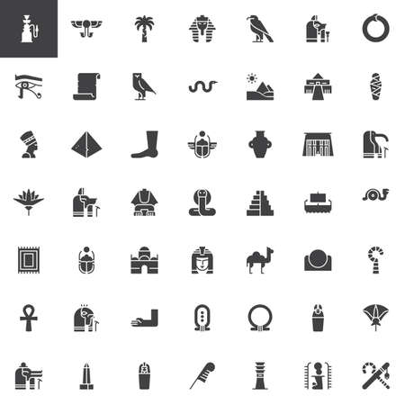 Egypt elements vector icons set, modern solid symbol collection, filled style pictogram pack. Signs, logo illustration. Set includes icons as Pipe, Hieroglyph, Pharaoh, Papyrus, Pyramid, Nefertiti