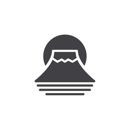 Fuji mountain vector icon. filled flat sign for mobile concept and web design. Traditional Japanese Fujiyama mountain simple solid icon. Symbol, logo illustration. Pixel perfect vector graphics