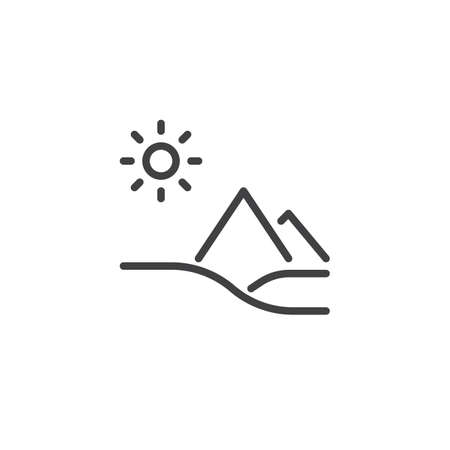 Sand desert landscape outline icon. linear style sign for mobile concept and web design. Desert pyramids line vector icon. Symbol, logo illustration. Pixel perfect vector graphics