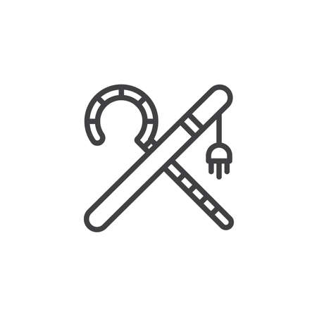 Crook and flail outline icon. linear style sign for mobile concept and web design. simple line vector icon. Ancient Egypt Symbol, logo illustration. Pixel perfect vector graphics