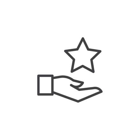 Hand and star outline icon. linear style sign for mobile concept and web design. Rating simple line vector icon. Symbol, logo illustration. Pixel perfect vector graphics