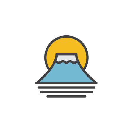 Fuji mountain filled outline icon, line vector sign, linear colorful pictogram isolated on white. Traditional Japanese Fujiyama mountain symbol, illustration. Pixel perfect vector graphics Vettoriali