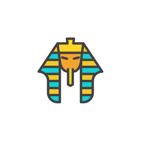 Egyptian pharaoh filled outline icon, line vector sign, linear colorful pictogram isolated on white. Tutankhamen mask symbol, logo illustration. Pixel perfect vector graphics