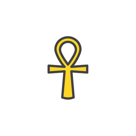 Ankh filled outline icon, line vector sign, linear colorful pictogram isolated on white. Egyptian cross symbol, logo illustration. Pixel perfect vector graphics  イラスト・ベクター素材
