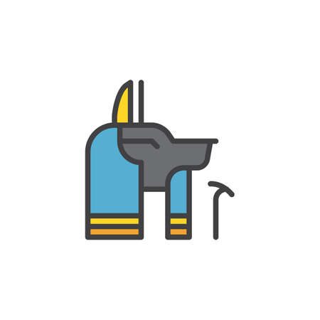 Anubis filled outline icon, line vector sign, linear colorful pictogram isolated on white. Ancient egyptian god symbol, logo illustration. Pixel perfect vector graphics Foto de archivo - 104143009