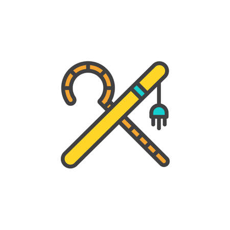 Crook and flail filled outline icon, line vector sign, linear colorful pictogram isolated on white. Ancient Egypt symbol, logo illustration. Pixel perfect vector graphics