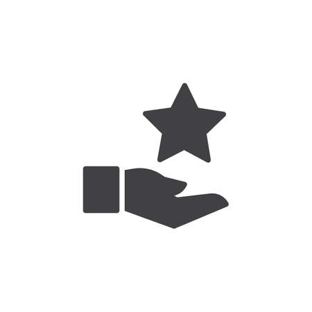 Hand and star vector icon. filled flat sign for mobile concept and web design. Rating simple solid icon. Symbol, logo illustration. Pixel perfect vector graphics